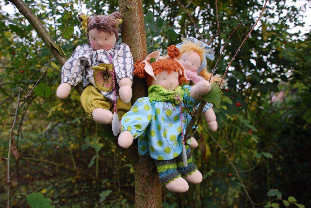 Schmusepuppen Polly, Penny und Pina